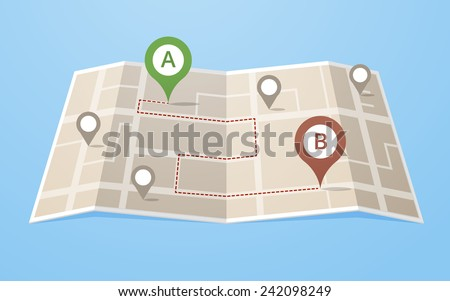 Flat style map with gps pointers showing route through the city. Layered vector illustration EPS 10 file.