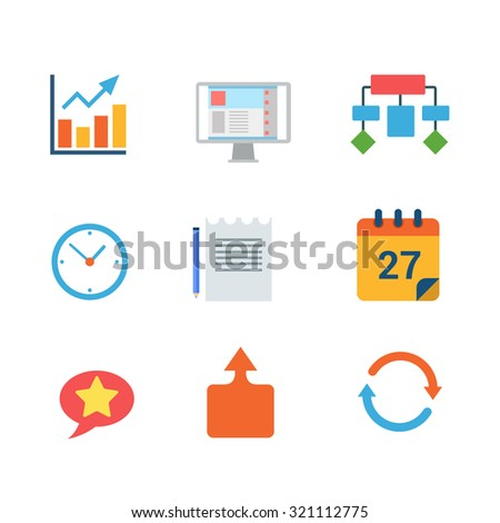 Flat style modern business finance statistics ERP CRM mobile web app interface concept icon set. Chart graphic algorithm clock document calendar chat reload infographics. Website icons collection. - stock vector