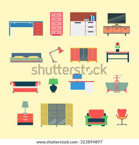 Flat Style Modern Creative Furniture Web Stock Vector 323894897