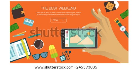 Flat Style Modern Design Concept of Creative Weekend. Icon Collection of  Items and Elements, Things for inspiration,  life and travel, Objects and Equipment for hipster lifestyle. Vector Illustration - stock vector
