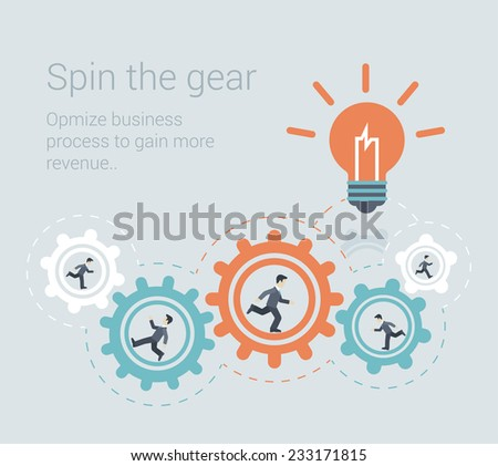 Flat style modern effective process teamwork, workforce infographic template concept. Conceptual web illustration business people innovation spin the cog wheel gear mechanism light up lamp idea icon. - stock vector