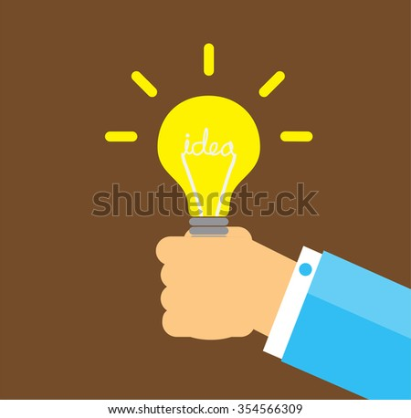 Flat style modern idea innovation light bulb infographic concept. Conceptual web illustration of businessman hand holding lamp. Creative Idea. black background.