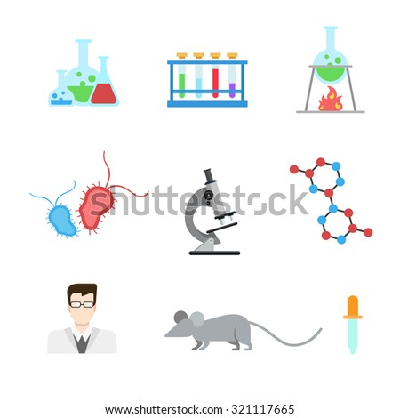 Flat style modern laboratory research experiment web app concept icon set. Lab mouse flask beaker test tube heater microbe microscope DNA molecule doctor pipette dropper. Website icons collection. - stock vector