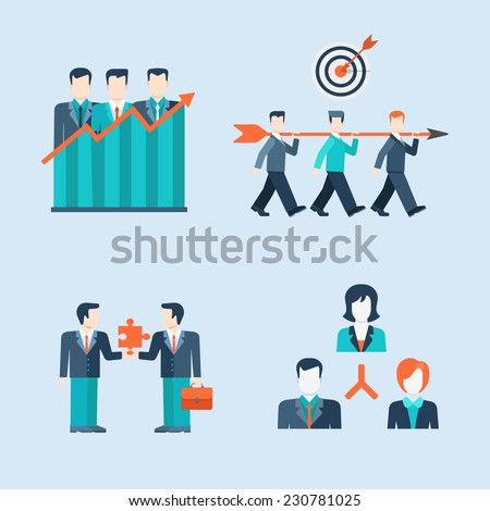 Flat style modern people icons business man situations web template infographic vector icon set. Women businessman lifestyle icons. Team work partnership leadership connection organizational structure - stock vector