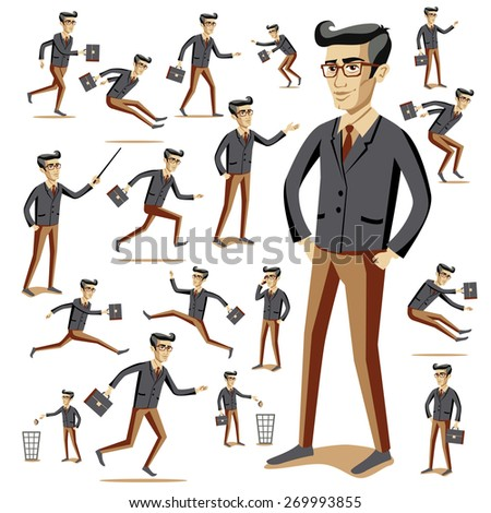 Flat style modern people in casual clothes icons situations web template infographic vector icon set. Men women lifestyle icons. Black white, young old, businessman and teacher, hipster sexy beast. - stock vector