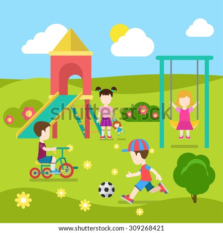 Flat style modern playground happy children play. Slide seesaw boy girl soccer. Childhood parenting collection. - stock vector
