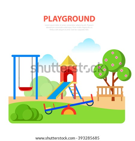 Flat style modern playground in park template. Slide seesaw. Childhood parenting collection. - stock vector
