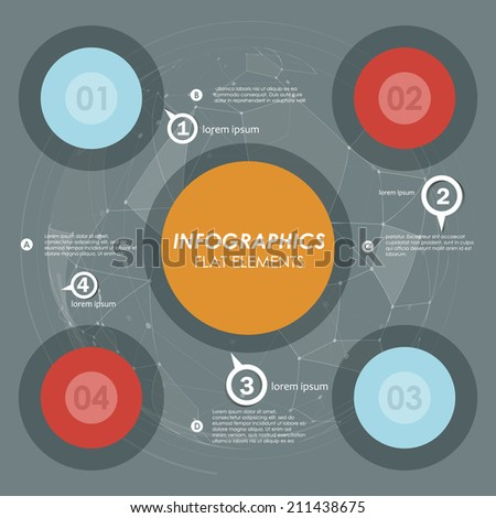 Flat style modern template diagram data. distribution system. web element - stock vector