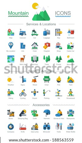 flat style mountain icons,vector - stock vector
