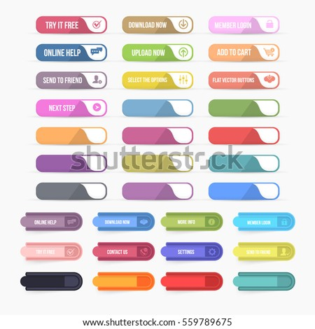 Flat Style Multicolored Website Different Buttons Set, Vector Colorful Web Layout Elements Collection