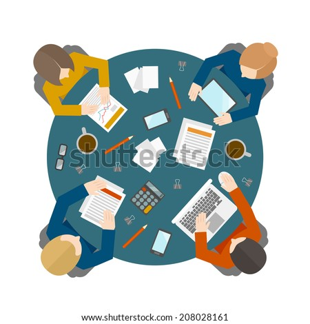 Flat style office workers business management meeting and brainstorming on the round table in top view vector illustration - stock vector