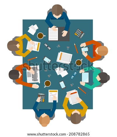 Flat style office workers business management meeting and brainstorming on the square table in top view vector illustration - stock vector