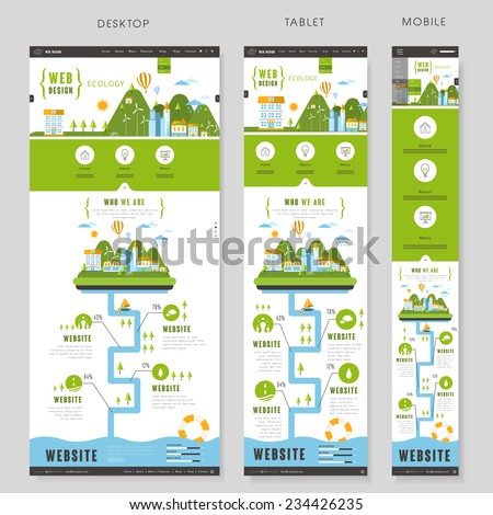 flat style one page website template design with ecology concept - stock vector