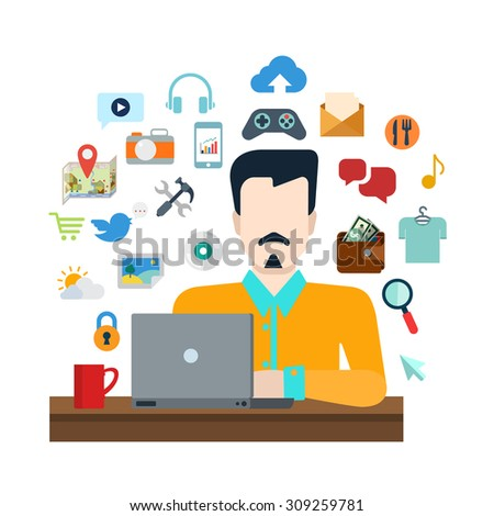 Flat style online social media content sharing lifestyle infographics icon set concept collage. Stylish young man with laptop and life object icon set. Creative people collection. - stock vector