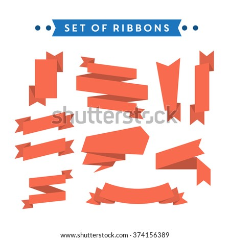 Flat style ribbon collection - stock vector