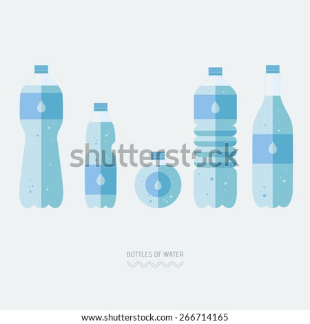 Flat style. Set of bottles of water. Icons. Use for card, poster, brochure, banner, web design. Eps10 - stock vector