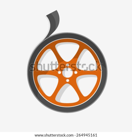 Flat Style Simple Film Reel - stock vector