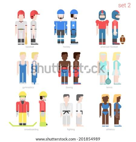 Flat style sportsmen people vector icon set. Baseball batter, hockey, football, tennis player, boxer, skateboarder, karate fighter, athlete. Flat sportsman people collection. - stock vector