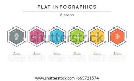 Flat Style 6 Steps Timeline Infographic Stock-Vektorgrafik 665721574 ...