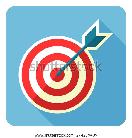 Flat style target and arrow vector icon illustration. - stock vector