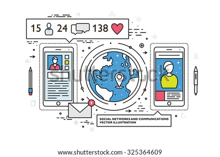 Flat Style, Thin Line Art Design. Set of application development, web site coding, information and mobile technologies vector icons and elements. Modern concept vectors collection. - stock vector
