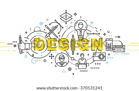 Flat Style, Thin Line Art Design. Set of application development, web site coding, information and mobile technologies vector icons and elements. Modern concept vectors collection. Design Concept - stock vector