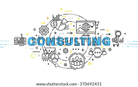Flat Style, Thin Line Art Design. Set of application development, web site coding, information and mobile technologies vector icons and elements. Modern concept vectors collection. Consulting Concept. - stock vector