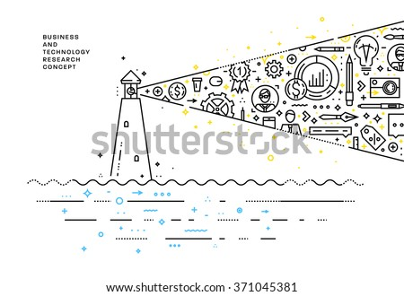 Flat Style, Thin Line Art Design. Set of application development, web site coding, information and mobile technologies vector icons and elements. Modern concept vectors collection. Lighthouse Concept. - stock vector