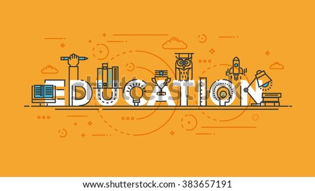 Flat Style, Thin Line Banner design of E learning, books, thinking, idea, achievement, learning, education, etc. Modern concept. Vector Illustartion - stock vector