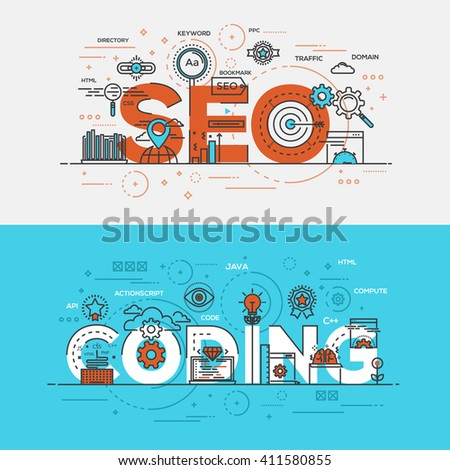 Flat Style, Thin Line Banner design of Seo Optimization and Coding, Colors, Drawing, vision, etc. Modern concept. Vector Illustartion