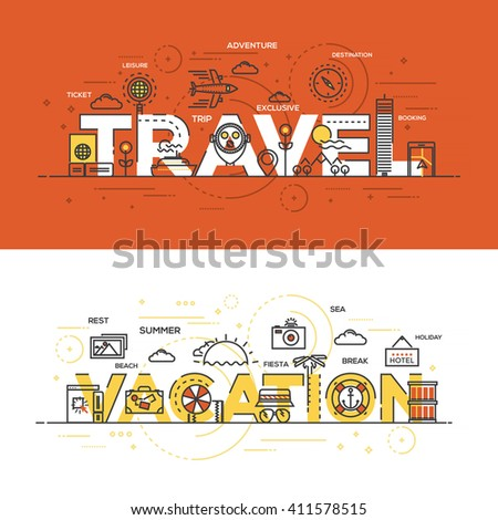 Flat Style, Thin Line Banner design of Travel and Vacation, Colors, Drawing, vision, etc. Modern concept. Vector Illustartion - stock vector
