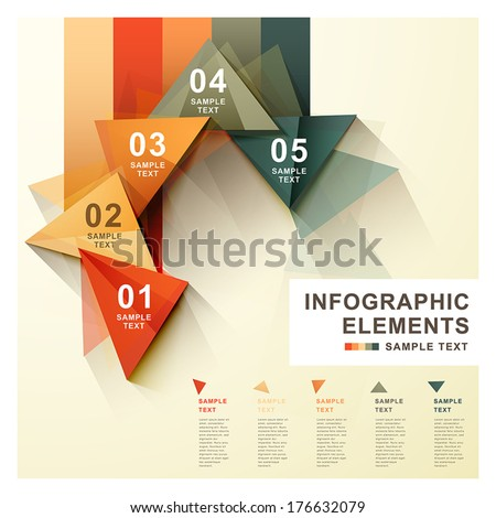 flat style vector abstract triangle label infographic elements - stock vector