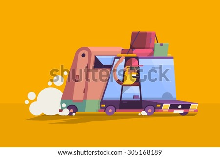flat style vector background with hipster guy in a car - stock vector
