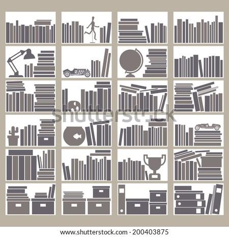 Flat style vector bookshelf - stock vector