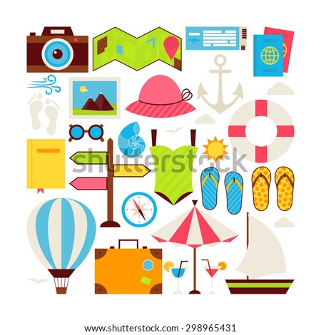 Flat Style Vector Collection of Summer Vacation and Travel Objects Isolated over White. Collection of Summer Holidays Colorful Objects. Set of Resort Beach Voyage Items. Design Elements - stock vector