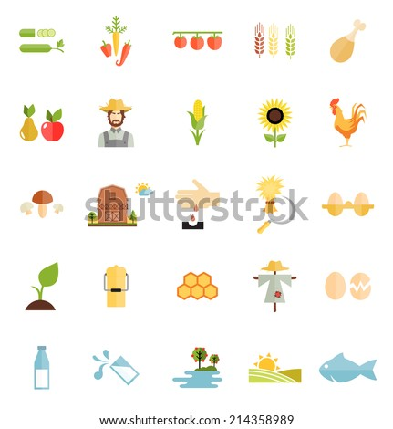 Flat Style Vector Farm Organic Food Icon Isolated on White Background. - stock vector