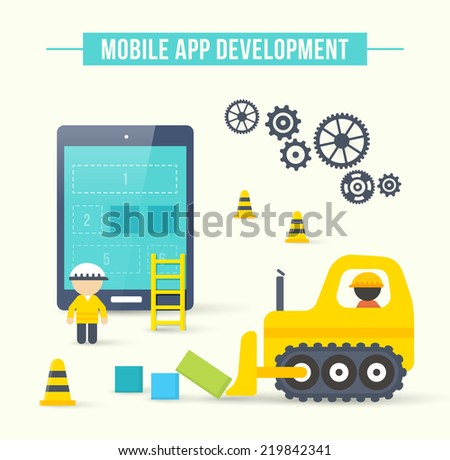 Flat style vector illustration concept of mobile app development. Infographic design for process of smartphone application construction - stock vector