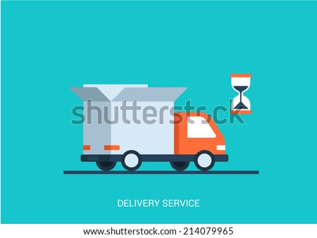 Flat style vector illustration delivery service concept. Abstract truck with open white box container and hourglass product item goods shop shipping. Big flat conceptual collection. - stock vector