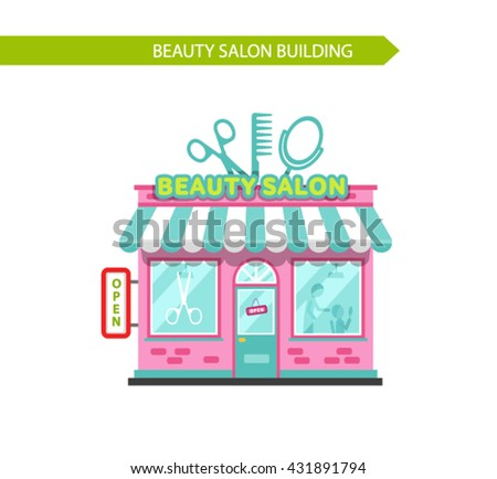 Flat Style Vector Illustration Of Nice Beauty Or Hair Salon Building Signboard With Big Scissors