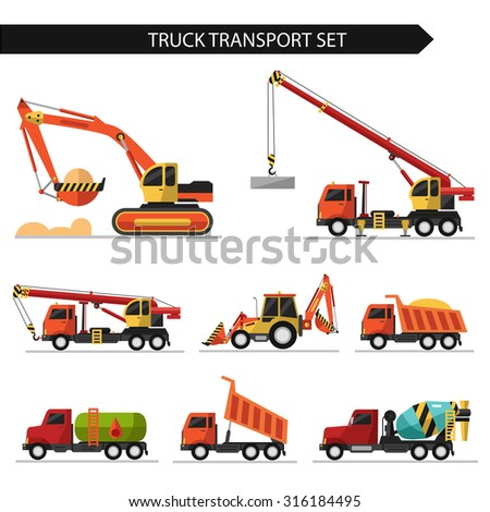 Flat style vector illustration of truck transport isolated on white background. Including concrete mixer, truck crane, bulldozer, gasoline tanker, excavator.