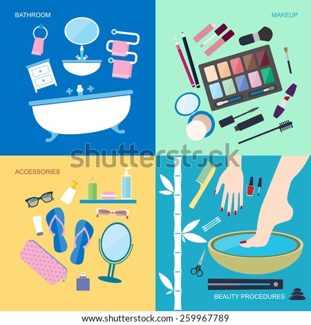 Flat style vector illustration. Personal hygiene and beauty. Bathroom furniture and accessories for washing and makeup. Spa beauty procedures icons set isolated on colored background - stock vector