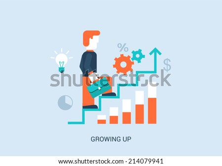 Flat style vector illustration stairway to success in career concept. Businessman with briefcase walking up steps with ideas, graphs, infographic. Big flat conceptual collection. - stock vector