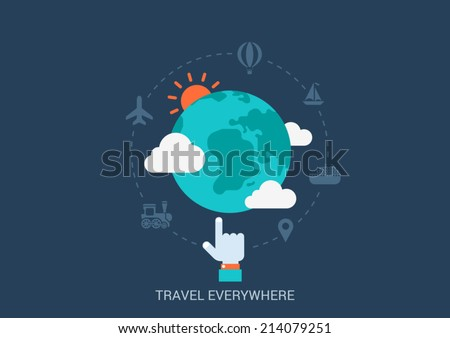 Flat style vector illustration travel tourism booking concept. Globe hand transport icons clouds weather. Big flat conceptual collection.