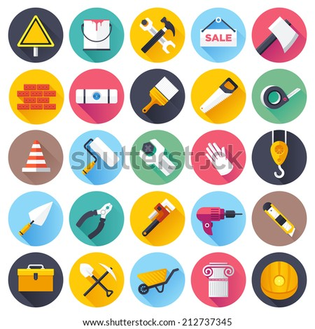 Flat style vector illustrations with long shadows; construction tools icons set. - stock vector