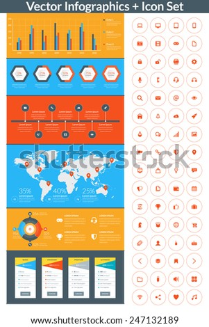 Flat style vector infographics and design elements with icon set  for brochures, flyers and websites