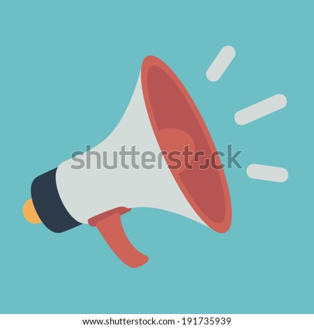flat style vector loudspeaker or megaphone icon  promotion and advertising concept
