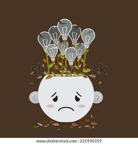 Flat style  vector of broken Light bulb plant in sadly pot  - stock vector