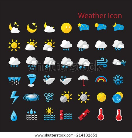 Flat style weather icon  vector set for web design, mobile, internet ,application,  artwork, etc.  - stock vector