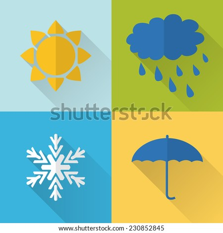 Flat style weather icons with long shadow - stock vector