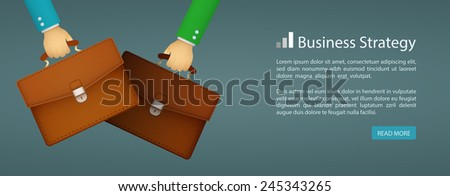 flat style web banner business strategy eps10 - stock vector
